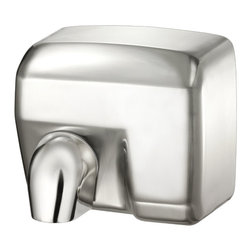 """Palmer Fixture - Conventional Series Hand Dryer in Brushed Chrome - Touchless, automatic hand dryer constructed of a brushed chrome with 2 vandal-proof lock screws. Nozzle is chrome plated zinc. Unit automatically shuts off when the users hands are removed with an approximate drying time of 20-25 seconds and an automatic power cut off after 60 seconds. The nozzle comes in the fixed position but can be adjusted in the field by removing the screw. Dryer delivers 202 CFM, air speed 63 MPH, Sound Level 70dB, motor type 1/4HP--200 W Brush type, motor thermostat turns unit off at 221 degrees Fahrenheit (105-_C), operation power 2400 W, 20 AMPS, 110/120 Volts, air output temperature 138 degrees Fahrenheit (53-_C)--ambient temperature 68 degrees Fahrenheit (20-_C), heating element 2200W. Instructions and mounting template included with every unit. Unit should be installed by a certified electrician.; Dimensions: 11 3/16"""" L x 8 """" W x 9 3/4"""" H; Includes 1 key, type 6"""