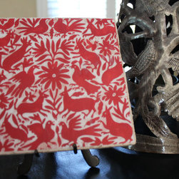 Red Otomi Animal Tile Art by Casa Oledo - I feel a DIY project brewing — I have been itching to redo the tile around the fireplace, so why not do it with some Otomi tiles? Handmade and finely detailed, these would work well in my Tudor home.