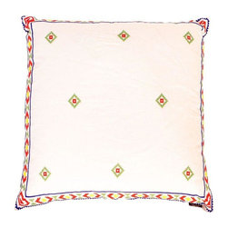 Pre-owned White & Red Mexican Embroidered Throw Pillow - A sweet pillow that has been hand-embroidered with red, green, blue, and yellow on neutral linen in a Mexican pattern. 95/5 Feather/Down fill. Hand wash or dry clean. Made in Vietnam. Four pillows are available in this style and color, please contact Support to purchase multiples.