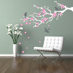Cherry Walls - Cherry Blossom Branch Wall Decal - Enliven your home with eternal symbols of spring. A stylized branch, adorned with pristine new blossoms and birds, brings a fresh new look that's cheerful even when the weather outside isn't. Choose from colors to go with every decor.