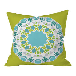 DENY Designs - Karen Harris Mod Medallion Green Throw Pillow, 26x26x7 - Karen Harris' faceted medallion design sparkles like a diamond against its bright lime background. This mod pillow would look fab next to some other bold patterns and colors, with a solid neutral like white to break them up.