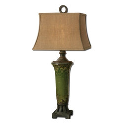 Uttermost - Olea Green Table Lamp - Distressed crackled green ceramic with rust bronze undertones and details.