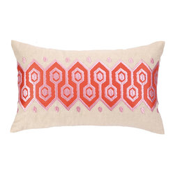 "Peking Handicraft - Pathway Coral Embroidered Pillow - Peking's Pathway embroidered pillow captures attention with graphic texture. Visually intriguing, this cream decorative accessory showcases coral pink and red linked hexagons in a geometric pattern.  20""W x 12""H; 100% ramie; Dry clean only"