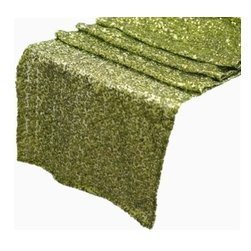 Chambury Casa - Sequined Table Runner, Apple Green, 12x108 - Celebrate your special day with your reception accented with these beautiful sequined table runners.