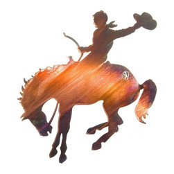 """Lazart - Buckin' Bronc Western Metal Wall Art 18"""" - Buckin'  Bronc  Western  Metal  Wall  Art  -  18          Keep  your  cowboy's  head  in  the  clouds  with  the  shimmering  beauty  of  this  Buckin'  Bronc  Western  Metal  Wall  Art,  as  he  dreams  of  wild  rodeo  rides  and  even  wilder  days  roaming  the  range.  Laser  cut  from  steel  and  treated  with  a  special  heat  transfer  process  to  create  the  shimmering  warmth  and  sheen  of  this  honey  pinion  color,  this  western  metal  wall  art  exudes  energy  and  the  spirit  of  the  wild  west.  Make  this  18  wide  metal  wall  art  your  own  and  celebrate  your  western  style."""