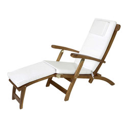 All Things Cedar - Teak Steamer with White cushion - Our Teak Steamer Chair features a multi-position back for your lounging comfort. Mortise and tenon construction using solid Javanese Teak. - Finished with a light teak oil and fitted solid brass hardware to ensure many years of trouble-free use. Item is made to order.