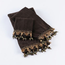 Chocolate Bath Towel, Set of 3 - Hang these towels in colors of rich chocolate brown in your bath for an elegant look.  The gorgeous trim is icing on this chocolate cake.