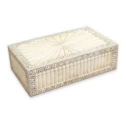 Kathy Kuo Home - Micina Wood Bone Global Bazaar Decorative Jewelry Box - Evoking travels to far away lands and the lure of the Orient, this box has such elegance and style, we can see it in a diverse collection of settings from French Country to Hollywood Regency to Global Bazaar and more.  Delightful for storing jewelry or whatever treasures deserve a stylish enclosure.