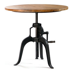 Carnegie Industrial Style Bar Table with Crank, Wood Top - The Carnegie Industrial Style Bar Table with Crank features a sturdy three point base and a durable iron top or wood that's adjustable from 34 inches to 45 inches. It's factory inspired look pairs well with any of our seating. Available with either a distressed steel or wood top. Featured with the Adams Chairs.