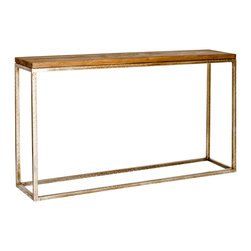 Worlds Away - Worlds Away Distressed Wood Top Console Table in Silver PLANKTON CONS - Worlds Away Distressed Wood Top Console Table in Silver PLANKTON CONS