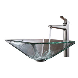 Kraus - Kraus Clear Aquamarine Glass Vessel Sink and Virtus Faucet Brushed Nickel - *Add a touch of elegance to your bathroom with a glass sink combo from Kraus