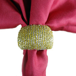 TableCenterpieces.net - Set of 4 Gold Glass Beaded Napkin Rings in Organza Gift Bag - The simply elegant glass beading of this gold napkin ring will add an understated sophistication to your dining table. Our napkin rings are hand-crafted in India and made of beautiful gold beads on a solid tubular form. The gold setting is ideal for holidays, formal events, dinner parties or celebrations. These napkin rings are sold as a set of 4 in an attractive organza fabric gift or keepsake bag with a drawstring closure.