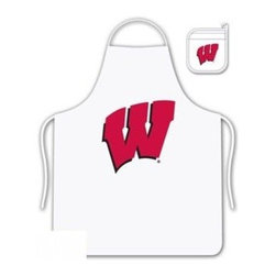 Sports Coverage - Wisconsin University Tailgate Apron and Mitt Set - Set includes your favorite collegiate Wisconsin University screen printed logo apron and insulated cooking mitt. White apron with white silver backed mitt. Both items are logoed. Tailgate Kit apron and mit is 100% cotton twill with screenprinted logo.