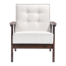 Aventura Arm Chair - Leatherette & Rubberwood.