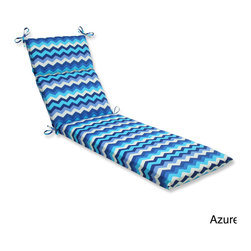 Pillow Perfect - Pillow Perfect Panama Wave Chaise Lounge Outdoor Cushion - Lounge around in classic style on this weather- and UV-resistant outdoor chaise lounge cushion with ties. Infused with a chevron pattern,this chaise lounge cushion includes a soft fiber filling,and a durable spun polyester cover.