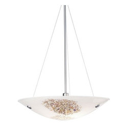 "LBL Lighting - LBL Lighting Veneto Grande Pendant Opal 26W 1 Light Bowl Pendant - LBL Lighting Veneto Grande Pendant Opal 26W 1 Light Bowl PendantFeaturing genuine Italian Murano handmade Opal glass with fused frit patterns and real inlaid silver flakes, this exquisite 23.5"" pendant will add a touch of class and style to any home or business. Install this fixture in level or sloped ceilings up to 45 degree steep with the special built in canopy. The three included 26 watt mini-candelabra base halogen lamp provides ample lighting for this splendid fixture.LBL Lighting Veneto Grande Pendant Opal 26W Features:"