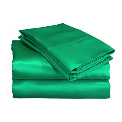 None - Charmeuse II Satin Emerald Green Sheet Set with Bonus Pillowcases - The luxurious feel of our Charmeuse Satin is a breakthrough over all satin sheets that are found in today's market. Our fabric is 230 thread count woven polyester that offers superior drape and a silky hand. It is literally lingerie for your bed.