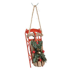Home Decorators Collection - Wood Sled Ornaments - Set of 2 - Embellished by jingle bells and faux holly branches, our Wood Sled Ornaments bring holiday nostalgia to your tree. Each sled is constructed of natural wood and metal with a red finish. Made of wood and metal. Features bells and faux holly.
