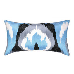 Nanette Lepore - Nanette Lepore Villa Ikat Blue Embroidered Pillow - Nanette Lepore's Ikat throw pillow captivates with vibrant colors and rich texture. In shades of blue, the contemporary linen accessory's abstract design strikes a graphic vibe. 100% linen; Blue, gray, black and white; Feather down insert included; Dry clean only; Natural linen may appear beige rather than white as shown