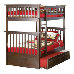 Atlantic Furniture - Columbia Twin Over Twin Bunk Bed w Trundle - NOTE: ivgStores DOES NOT offer assembly on loft beds or bunk beds. Includes upper and lower panels, rails, clip-on ladder, 2 slats and raised panel trundle. Mattress not included. Made of premium, eco-friendly hardwood with a 5-step finishing process. Solid hardwood Mortise & Tenon construction. 26-Steel reinforcement points. Designed for durability. Guard rails match panel design. Meet or exceed all ASTM bunk bed standards, which require the upper bunk to support 400 lbs.. Pictured in Antique Walnut finish. 1-Year manufacturer's warranty. Clearance from floor without trundle or storage drawers: 11.25 in.. 80.5 in. L x 44.25 in. W x 68.13 in. H. Raised panel trundle: 74.75 in. L x 40.38 in. W x 11.63 in. H. Bunk Bed Warning. Please read before purchaseThe Columbia bunk bed features a classic Mission style design with subtle curves and solid post construction.