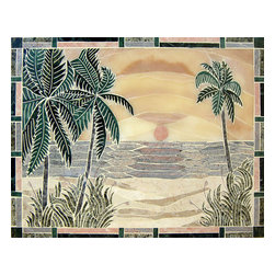 Handcrafted Marble Mural Sunset Beach Backsplash - Made to order. Lead time 2-4 weeks. Proudly made in USA.
