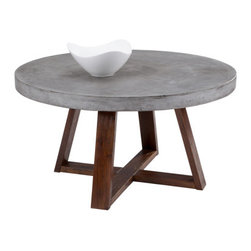 Deveonelle Round Cement Top Coffee Table - Deveonelle Round Cement Top Coffee Table. A mix of industrial and rustic design, this coffee table features a substantial concrete round top and is finished with a light espresso wood base. An impactful addition to any space. Dimensions: 35.5D x 19H inches