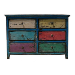 Golden Lotus - Blue Multi-color 6 Drawers Side Table Drawers - This is an old cabinet restored with modern lacquer in rustic finish. Drawers are painted in different color.