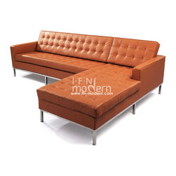 IFN Modern - Florence Knoll Style Sectional-Brown - 100% Italian Leather - â— Available in 100% Full Grain Italian Leather, 100% Full Grain European Aniline Leather Upholstery and Fabric (Cashmere or Tweed)â— Variety of colors availableâ— Fully upholstered in your leather grade of choice, including all sides, back and detailing; not Leather Match, Bonded Leather etc.â— High Polished #304 full length external stainless steel base frame ensures no chipping or rustingâ— Piping and Buttons covered in Leather grade of your choiceâ— Choice of Left arm or Right Arm (sectional)â— Traditional hardwood box frame constructionâ— Reinforced bottom seat cushion platform for firm long lasting comfortâ— Corner Stainless Steel base joints are fully welded, grind, sealed and sandedâ— Multi density foam seat and back cushions wrapped in silk layer provide comfort and cushion structure memoryâ— Cushions CA-117 fire retardant compliantâ— Remove-able back and seat cushions feature rear zippersâ— Complete with floor protection pad caps on legs