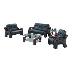 American Eagle Furniture - 9025 Black Bonded Leather Three Piece Sofa Set With Mahogany Arms - The