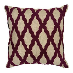 Silver Nest - Shapely Burgundy Down Pillow- 18x18 - 100% Linen, Woven. Set of two pillow covers with hidden zippers. Feather inserts included. Inserts are 95/5. Priced individually, must be sold as set of 2.