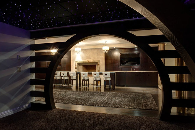 Contemporary Basement by Maxey Hayse Design Studios, Inc