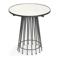 Needle Table - It is a magnificent imagination of vintage art and contemporary appeal. This Needle Table has been crafted with highest precision to make it a part of the splendid French country chic collection. An astounding work of art that features a round marble top resting upon a series of metallic needle bars adjoined together to form a hollow conical base. Designed with a brilliant approach, it is surely going to mesmerize many sights.