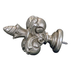 The Merchant Source - 1 3/8 in. Compatible Finial - Fleur De Lis (Antique Silver) - Finish: Antique Silver. Compatible with any 1-3/8 inch curtain rod, this lovely French style Fleur de Lis finial will add an elegant European style touch to any window treatment. Available in a wide selection of decorator style finishes, you're sure to find the perfect complement to your decor. Made of Resin. 5 in. L x 3 in. W (1 lbs.)