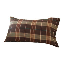 Taylor Linens - Deerfield King Sham - Cabin fever? Cure it with this bold and beautiful sham. The plaid casing is trimmed with corded piping and horn button closures, and is filled with a sinkably soft goose-down and feather insert. Place a pair on the bed and bring a touch of country charm to any room.
