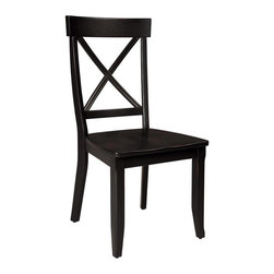 Home Styles - Home Styles Furniture Wood Side Chair in Rich Black Finish (Set of 2) - Home Styles - Dining Chairs - 5178802 - Reflecting a modern contemporary style and sensibility the Home Styles Side Chair is perfectly suited for most dining areas. Shaped not only for a stunning simple design but comfort to enjoy your dining with family and friends it is distinguished by flared and cross-slatted back panel with a contoured hardwood back. A strong black finish completes the look and appeal of the Home Styles Dining Chair perfectly complimenting any Home Styles table to a tee! Price shown includes 2 chairs