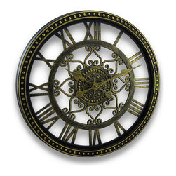Zeckos - Aged Bronze Finish Cut-Out Scroll Design Wall Clock 19 In. - This over-sized and stylish wall clock will add a nice touch to your room and your home. Hand-painted to look just like aged bronze, it's crafted from durable plastic materials for you to enjoy for many years. The decorative dial features easy-to-read Roman numerals and large, easy-to-see hands surrounded in a beautiful cut-out scroll-work design that makes this clock stand out This 19 inch (48 cm) diameter, 1 3/4 inch (5 cm) deep wall clock operates by a highly accurate quartz movement and one AA battery (not included), and easily hangs using a single nail or screw via the attached hanger on the back. It's perfect for the living-room, above a fireplace in the den, hung in an entryway or dressing up a dining room. This is one clock you'll be happy to watch, and is sure to be complemented by all.