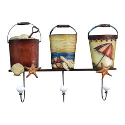 "Handcrafted Model Ships - Metal Sand Bucket Trio with Wall Hook 19"" - Nautical Decor - Immerse yourself in the warm ambiance of the beach, imagining golden sands between your toes as you listen to the gentle sound of the surf, while you enjoy Handcrafted Nautical Decor's fabulous Beach Signs. Perfect for welcoming friends and family, or to advertise a festive party at your beach house, bar, or restaurant, this Metal Sand Bucket Trio with Wall Hook 19"" will brighten your life. Place this beach sign up wherever you may choose, and enjoy its wonderful style and the delightful beach atmosphere it brings."