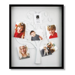Umbra - Umbra Family Tree Picture Frame - This cleverly-designed frame features a white-on-white molded tree with six leaf-shaped clips that hold photos and other mementos, surrounded by a simple black frame. Celebrate your ancestry and genealogy, show off the kids and pets, or commemorate a special family event. The easy-to-change design offers endless possibilities. Family Tree is a beautiful gift for Mother's Day, grandparents, anniversary, wedding, or new baby.