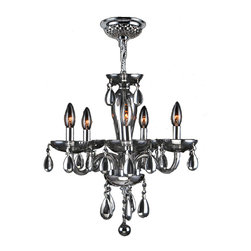 "Worldwide Lighting - Gatsby 5 Light Chrome Finish & Chrome Blown Glass Chandelier 16"" D x 18"" H Mini - This stunning 5-light Chandelier only uses the best quality material and workmanship ensuring a beautiful heirloom quality piece. Featuring a radiant chrome finish and blown glass in glossy chrome finish, this elegant chandelier is a work of art in its quality and beauty. Worldwide Lighting Corporation is a privately owned manufacturer of high quality crystal chandeliers, pendants, surface mounts, sconces and custom decorative lighting products for the residential, hospitality and commercial building markets. Our high quality crystals meet all standards of perfection, possessing lead oxide of 30% that is above industry standards and can be seen in prestigious homes, hotels, restaurants, casinos, and churches across the country. Our mission is to enhance your lighting needs with exceptional quality fixtures at a reasonable price."