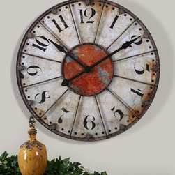 Uttermost - Billy Moon Ellsworth Wall Clock - Designer: Billy Moon. Quartz movement. Crackled Ivory face with rust Red accent and rustic Bronze Metal details. 29 in. W x 2 in. D x 29 in. H