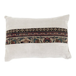 "Kathy Kuo Home - Montclair French Country Brocade Pattern Rustic Lumbar Pillow - Rectangle - Nothing says ""home"" more than a soft, inviting pillow. This French Country brocade pattern is neutral enough for any color palette with a pop of floral patterning in muted earth tones. Feathers and down provide plush support and cozy comfort. The rectangular embroidered linen pillowcase is removable for easy washing."