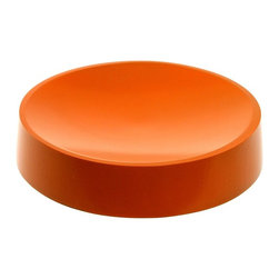 Gedy - Round Free Standing Orange Soap Dish in Resin - A free stand contemporary soap dish that is made in resin and finished with orange. Part of the Piccollo collection by Gedy, this designer-quality soap dish & holder will compliment more modern & contemporary bathrooms. Made in Italy by Gedy. Designer-Qua