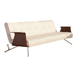 """Innovation USA - """"Innovation USA"""" Clubber 03 Sofa in Natural Khaki with Walnut Arms - Make your room more cozy with this """""""" Innovation USA """"Clubber 03 Sofa in Natural Khaki with Walnut Arms in your room. Clubber Sofa series of recliner with a stylish, modern and functional sofa. Sofa frame is made of chrome-plated steel. Walnut armrest will add additional comfort.  Features:"""