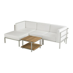 Link Outdoor - Echo Collection - Echo Corner Sectional, Armless Sectional and Ottoman, three pieces that allow for numerous configurations. Pieces that are versatile and durable that will work for you indoors and outdoors. c)Link Outdoor