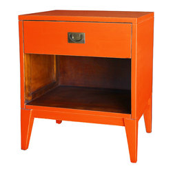 Antique Revival - Orange Petra Lacquer Nightstand - Are you looking for a simple, functional accent piece for your living room or bedroom? This wooden nightstand with smooth lacquer finish and clean lines is a great choice. The top drawer and bottom shelf add a little room for storage or displaying items. Item is newly made.