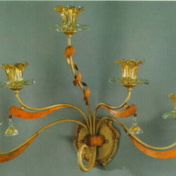 Artistica - Hand Made in Italy - Alba Lamp: Wall Light Sconce - G9 Bulb/Scavo Murano - Alba Lamp Collection: