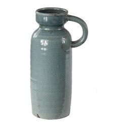 Silver Nest - Tiffany Crackle Vase - Light Blue Ceramic Crackle Vase with Handle.
