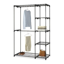 Whitmor - Double Rod Closet - Keep your shoes neatly stacked and ready to wear with this metal shoe tower. Made with durable silver epoxy coated metal side frames and 8 tiered black nonslip tubes it holds up to 40 pairs of shoes. With so much space you'll never need to line a closet or bedroom floor with piles of shoes again. Using the rack keeps scuffs and scratches at bay and helps keep your shoes from getting crushed.