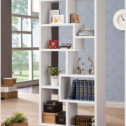 Coaster - Bookshelf, White - This wall unit can be used to dress up any wall with the look of interlocking shelves, which provide storage and display space in different sized compartments. Finished in white.