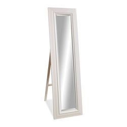 Bassett Mirror - Bassett Mirror Putnam Cheval Mirror - Ideal for use in a bedroom or dressing room, the standing Putnam Cheval Floor Mirror features beveled glass and a thick wood frame in white gloss finish. Style it with transitional decor for a look that is simple, clean and sophisticated. Comes with a fold-out support stand.